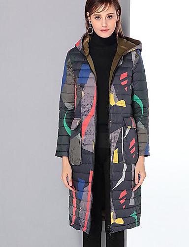 Damen Daunenjacke Mantel,Lang Freizeit Andere Druck-Polyester Langarm