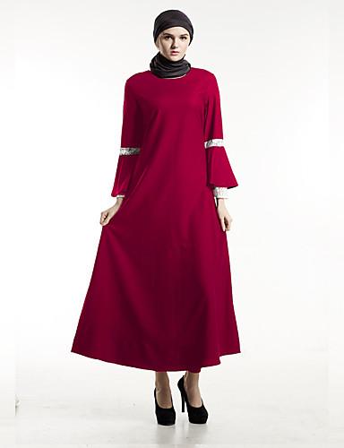 Damen Kaftan Kleid-Alltag Solide Rundhalsausschnitt Maxi 3/4 Ärmel Polyester Frühling/Herbst Mittlere Hüfthöhe Mikro-elastisch Mittel