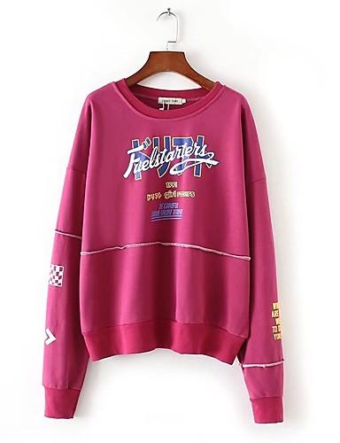 Damen Pullover Ausgehen Lässig/Alltäglich Niedlich Aktiv Solide Druck Buchstabe Mikro-elastisch Baumwolle