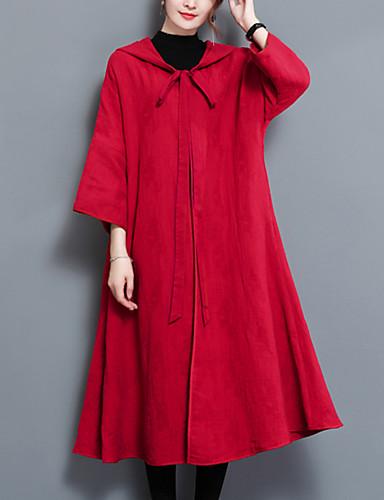 Damen - Solide Einfach Ausgehen Mantel / Capes Baumwolle