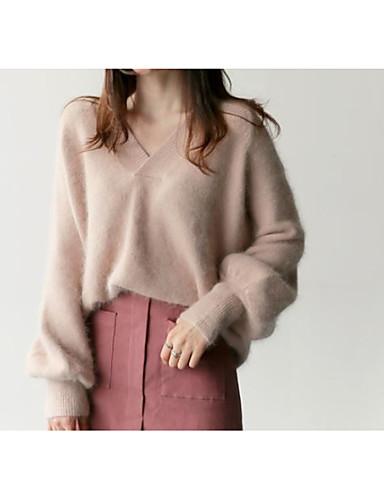 Damen Strickware Kleid-Lässig/Alltäglich Solide V-Ausschnitt Übers Knie Langärmelige Wolle Herbst Winter Mittlere Taillenlinie strenchy