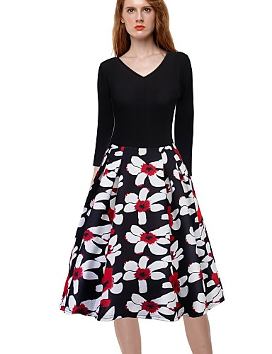 Damskie Wyjściowe Vintage / Aktywny Linia A / Swing Sukienka Nadruk W serek Midi