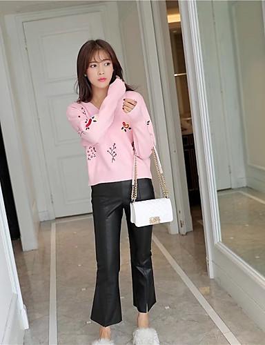 Damen Standard Pullover-Ausgehen Lässig/Alltäglich Solide Druck V-Ausschnitt Langarm Baumwolle Andere Mittel Dick Mikro-elastisch