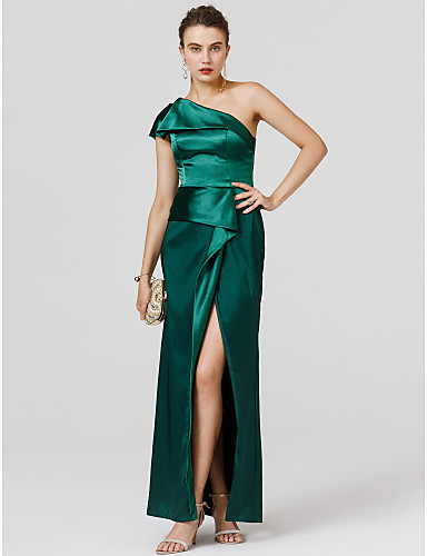 Sheath / Column One Shoulder Floor Length Satin Open Back / Celebrity Style Cocktail Party / Formal Evening Dress with Split Front by TS Couture®