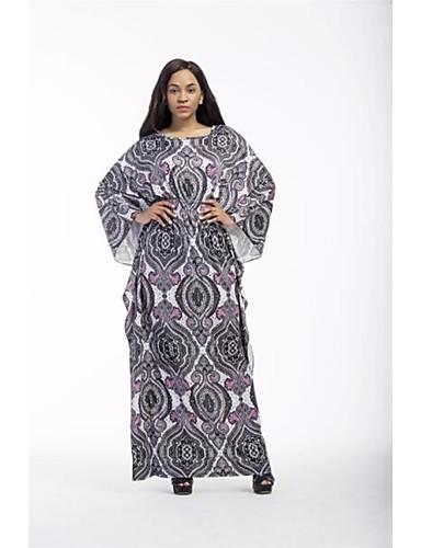 Damen Übergrössen Baumwolle Kaftan Kleid - Druck Maxi