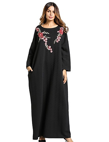 Damen Swing Kleid-Lässig/Alltäglich Solide Blumen Rundhalsausschnitt Maxi Langärmelige Leinen Alle Jahreszeiten Mittlere Hüfthöhe
