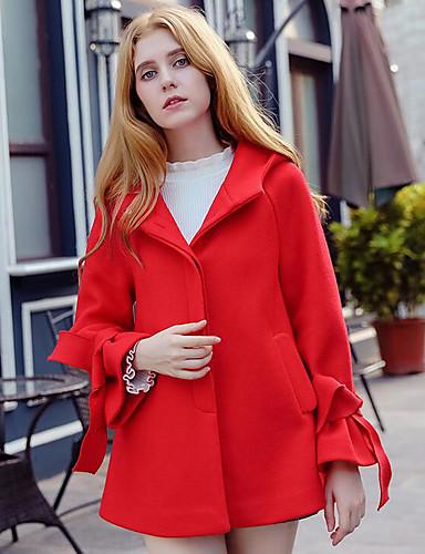Damen Lässig / Alltäglich Einfach Herbst / Winter Kurz Mantel, Solide Langarm Polyester Rote M / L / XL