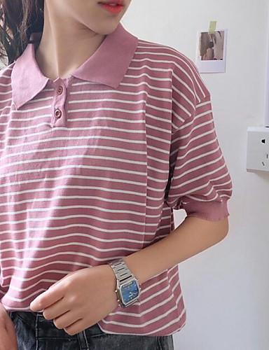 Damen Gestreift Street Schick Ausgehen Lässig/Alltäglich Hemd,Hemdkragen Sommer Kurzarm Baumwolle
