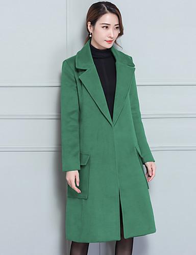 Damen Solide Einfach Lässig/Alltäglich Mantel,Hemdkragen Herbst Winter Langarm Lang Wolle Baumwolle