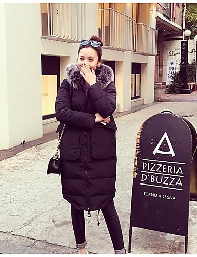 Damen Gefüttert Mantel,Lang Street Schick Lässig/Alltäglich Solide-Baumwolle Polyester Langarm