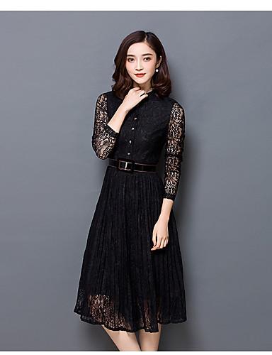 Damen Hülle Kleid-Ausgehen Solide V-Ausschnitt Midi Langarm Polyester Herbst Winter Hohe Taillenlinie Mikro-elastisch Mittel