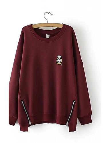 Damen Pullover Lässig/Alltäglich Einfach Buchstabe Mikro-elastisch Baumwolle