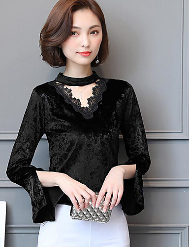 Damen Solide Street Schick Ausgehen T-shirt, V-Ausschnitt Langarm Acryl