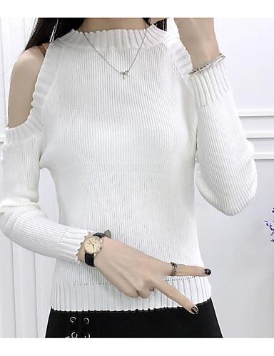 Damen Standard Strickjacke-Lässig/Alltäglich Ausgehen Solide Rundhalsausschnitt Langarm Polyester Dünn Mikro-elastisch