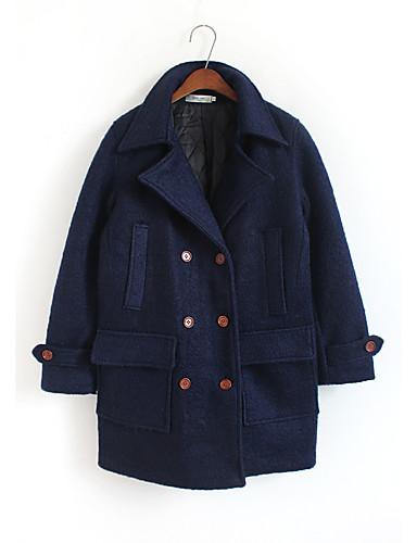 Damen Solide Einfach Lässig/Alltäglich Mantel,V-Ausschnitt Herbst Winter Langarm Lang Wolle Polyester