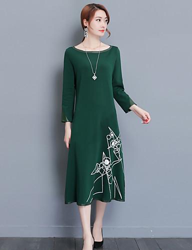 Damen Lose Hülle Kleid-Ausgehen Lässig/Alltäglich Boho Chinoiserie Geometrisch Rundhalsausschnitt Midi Langarm Andere Mittlere Hüfthöhe