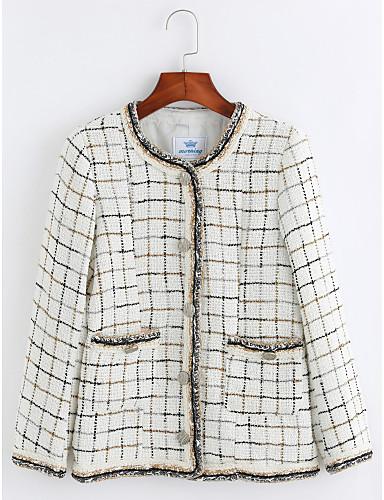 Damen Gestreift Einfach Freizeit Alltag Standard Mantel, Rundhalsausschnitt Winter Baumwolle