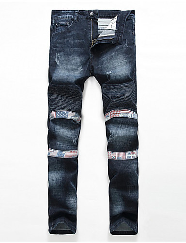 Herrn Leinen Chinos Jeans Hose - Ripped, Solide