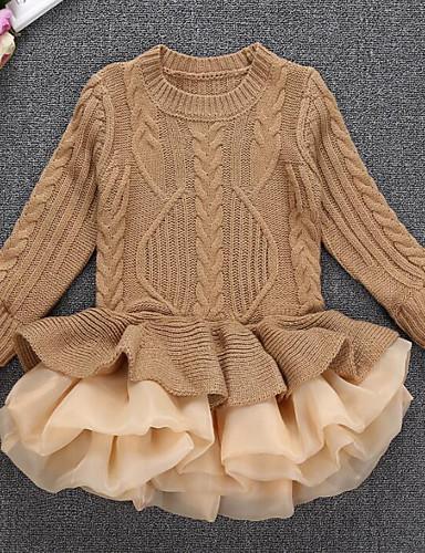 Mädchen Kleid Ausgehen Patchwork Baumwolle Polyester Langarm Prinzessin Street Schick Braun Rote Beige Grau