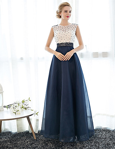 A-Line Illusion Neck Floor Length Tulle Over Lace Beautiful Back ...