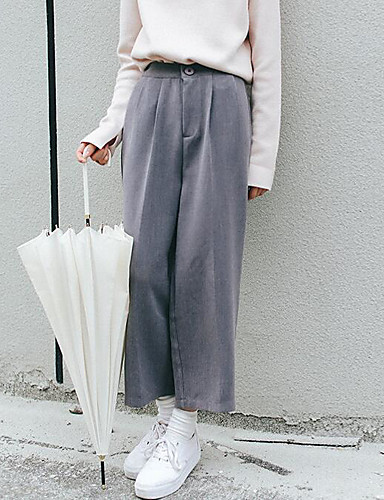 Damen Freizeit Mikro-elastisch Chinos Hose Solide