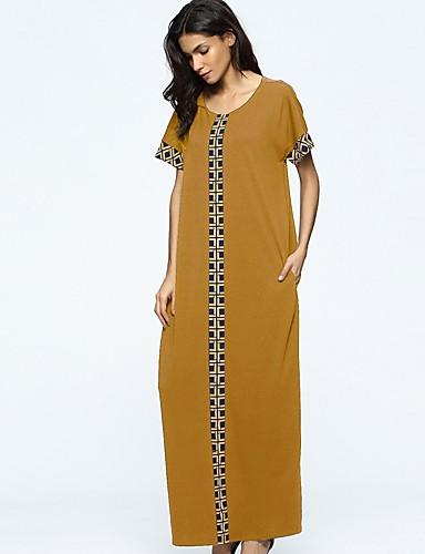 Damen Tunika Kleid-Lässig/Alltäglich Solide Einfarbig Rundhalsausschnitt Maxi Kurze Ärmel Polyester Alle Jahreszeiten Mittlere Hüfthöhe