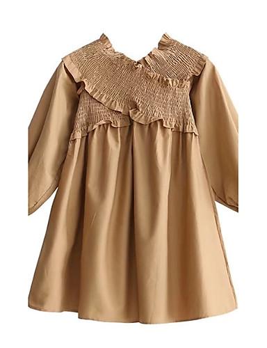 Damen Lose Kleid-Ausgehen Lässig/Alltäglich Solide V-Ausschnitt Übers Knie 3/4 Ärmel Baumwolle Andere Mittlere Hüfthöhe Mikro-elastisch