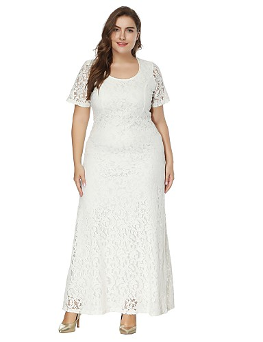 db2574321aa Women s Plus Size Party Maxi A Line Lace Dress - Solid Colored White ...
