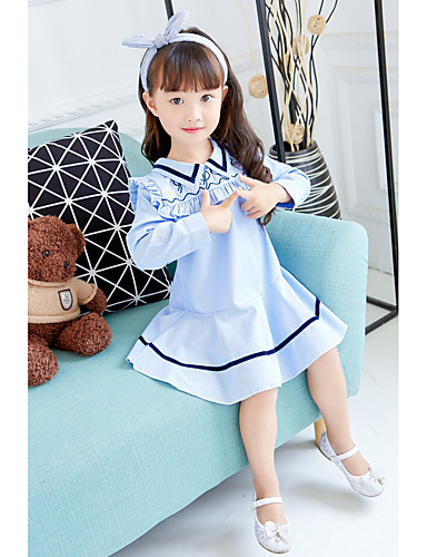 Sukienka Bawełna Poliester Dziewczyny Urodziny Codzienne Prążki Wiosna Jesień Długi rękaw Prosty Urocza Niebieski
