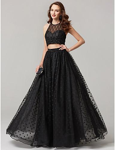 billige Todelte kjoler-A-linje Besmykket Gulvlang Tyll Cocktailfest / Skoleball / Formell kveld Kjole med Paljett / Blonder av TS Couture®