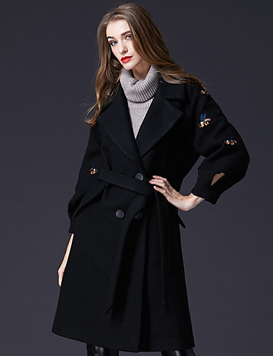 Płaszcz Długi Damskie Vintage Praca Kołnierzyk koszuli Jendolity kolor Akryl Poliester Nylon