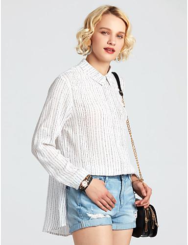 Damen Gestreift Einfach Sexy Street Schick Hemd,Hemdkragen Sommer Langarm Baumwolle Dünn Mittel
