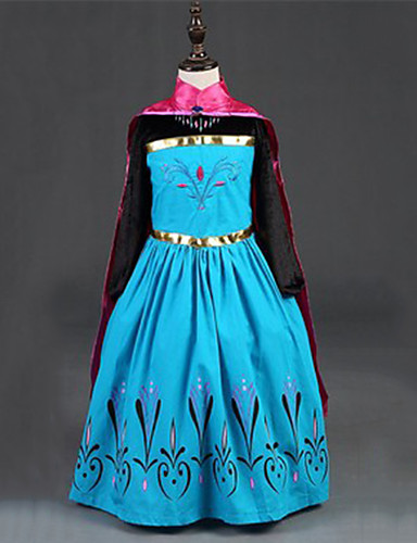 b4312729 Prinsesse Eventyr Anna Kjoler Kappe Barne Jente Kjoler Dekke Opp Jul  Halloween Maskerade Festival / høytid Silke / Bomulds Blanding Rød Karneval  Kostumer ...