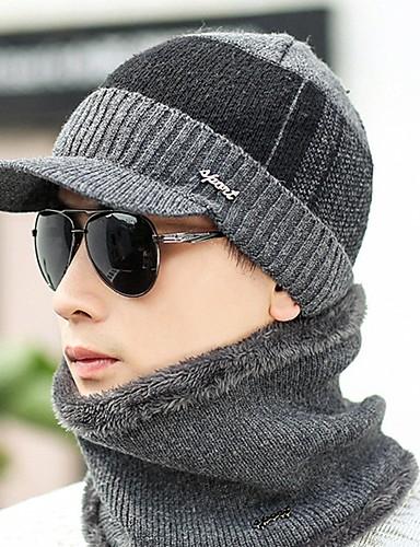 Недорогие Мужские головные уборы-Муж. Для офиса На каждый день Широкополая шляпа-Трикотаж Вязанная,Однотонный Зима Черный Серый