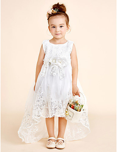 Princess Asymmetrical Flower Girl Dress - Cotton / Organza / Tulle ...