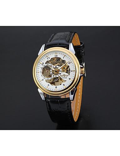 WINNER Męskie Nakręcanie automatyczne Zegarek na nadgarstek Chiński Hollow Grawerowanie Skóra Pasmo Vintage Na co dzień Do sukni /