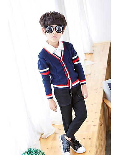 Sweter /  sweter rozpinany Bawełna Poliester Dla chłopców Jendolity kolor Wiosna Jesień Długi rękaw Prosty Navy Blue Gray