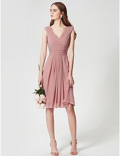 A-Line V Neck Knee Length Chiffon Bridesmaid Dress with Side Draping / Criss Cross / Ruched by LAN TING BRIDE®