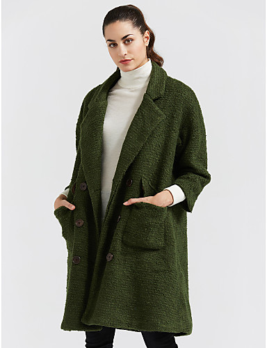 Women's Going out Vintage Winter Coat,Solid V Neck Long Sleeve Long Wool