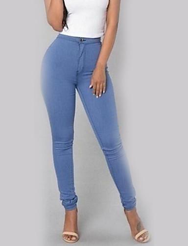 abordables Pantalons Femme-Femme Chic de Rue Vacances Décontracté / Quotidien Mince Pantalon - Couleur Pleine Noir Vin Bleu clair S M L