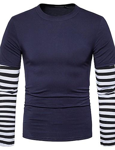 T-shirt Męskie Okrągły dekolt Prążki Bawełna