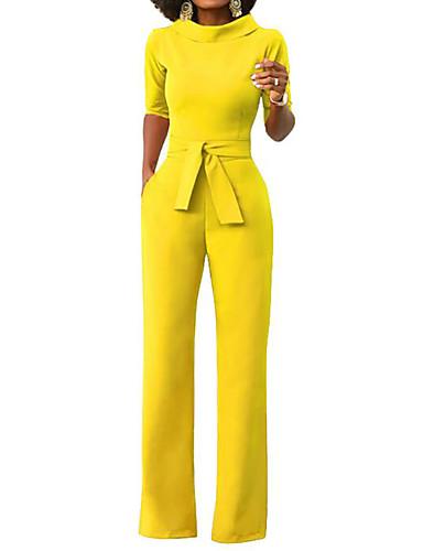 povoljno Ženske majice-Žene Wide Leg Dnevno / Vikend Dolčevita Bijela Lila-roza Vojska Green Wide Leg Jumpsuits, Jednobojni L XL XXL Rukava do lakta Proljeće Ljeto / Slim