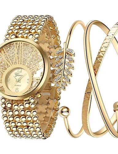 baratos Relógios Infantis-Mulheres Relógios Luxuosos Bracele Relógio Relogio Dourado Dourada Cronógrafo Luminoso imitação de diamante Analógico senhoras Luxo Brilhante Elegante - Dourado Um ano Ciclo de Vida da Bateria