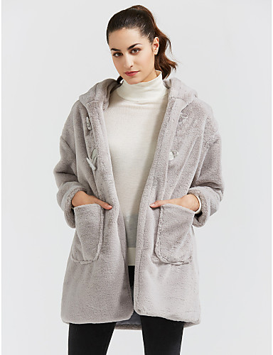 Γυναικεία Καθημερινά   Εξόδου Ενεργό Χειμώνας Μεγάλα Μεγέθη Μακρύ Γούνινο  παλτό 2ee7411be5f