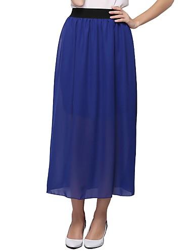 abordables Jupes-Femme Chic de Rue Décontracté / Quotidien Travail Balançoire Jupes - Couleur Pleine Noir Vin Bleu clair Taille unique
