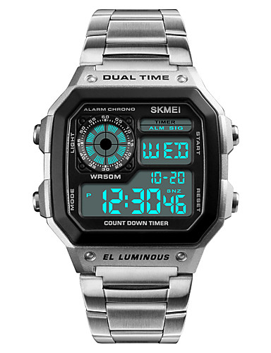 Муж. Спортивные часы Наручные часы Нержавеющая сталь Японский Цифровой Нержавеющая сталь Черный / Серебристый металл 50 m Защита от влаги Будильник Календарь Цифровой На каждый день - / Один год