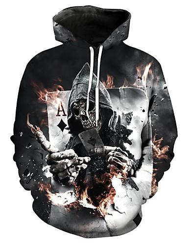 cheap Happy Halloween-Men's Plus Size Long Sleeve Loose Hoodie - 3D / Skull Print Hooded Black XL / Spring / Winter