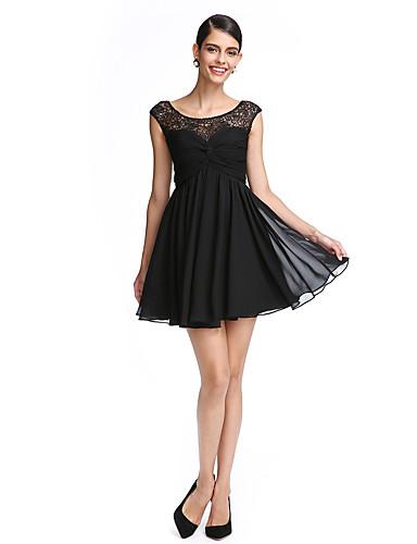 Linha A Curto / Mini Chiffon Renda Coquetel Baile de Fim de Ano Vestido com Renda Cruzado de TS Couture®