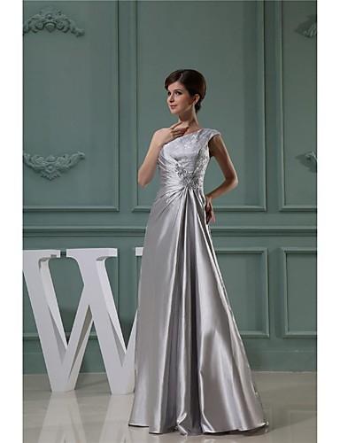 De Baile Assimétrico Longo Cetim Elástico Vestido Para Mãe dos Noivos com Laço(s) de LAN TING BRIDE®
