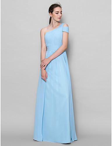 Lan ting νύφη πάτωμα-μήκους georgette φόρεμα παράνυμφων - α-γραμμή ένας ώμος με πλευρική draping